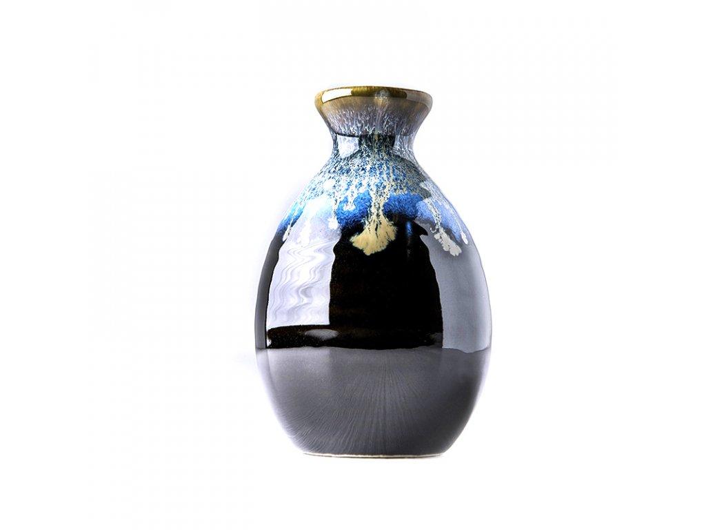 Fľaška na saké čierno-modrá 350 ml MIJ