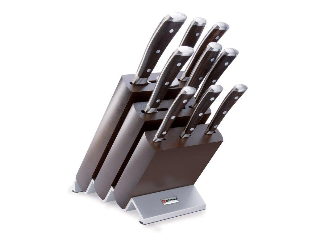 Blok s nožmi Ikon Wüsthof 9 ks tmavý a