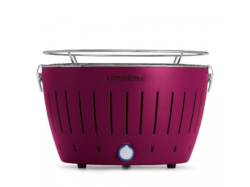 Bezdymový gril LotusGrill fialový  + gelový podpalovač + taška + sada batérií