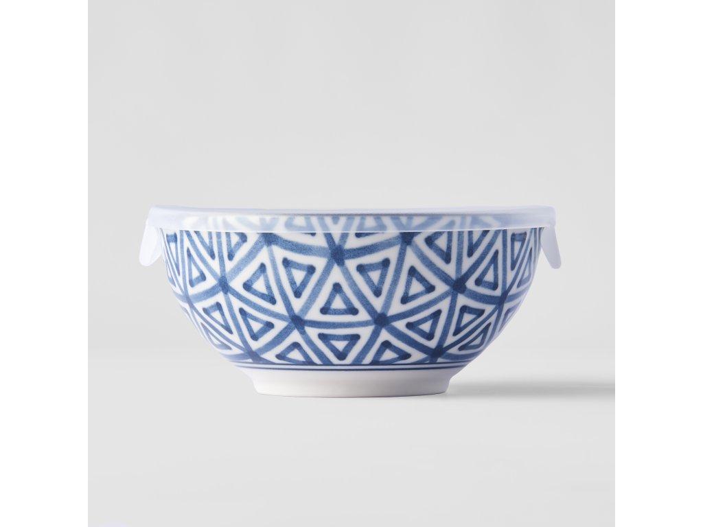 Miska Triangle Indigo Ikat s plastovým vekom 16 cm 700 ml MIJ