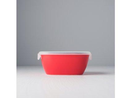 Hranatá nádoba COLOURBLOCK s vekom - červená 14 x 14 cm MIJ
