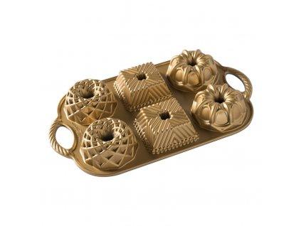 Forma na 6 malých báboviek Geo Bundlette Nordic Ware zlatá 6 x 160 ml