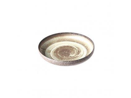 Kulatý jídelní talíř s vysokým okrajem Nin Rin 22 cm