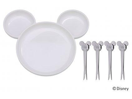 Súprava koktailových napichovačiek s tanierom Mickey Mouse