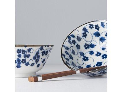 Set misiek s jedálnymi paličkami bielo-modrý kvietky 4 ks MIJ