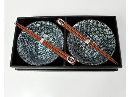 Set misiek s jedálnymi paličkami modro-biely kvietky 2 ks MIJ