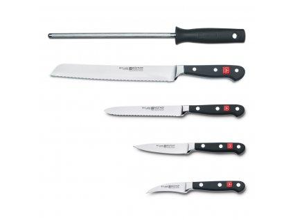 Sada nožů s hnědým blokem, vidličkou na maso, ocílkou a nůžkami 10dílná Classic WÜSTHOF