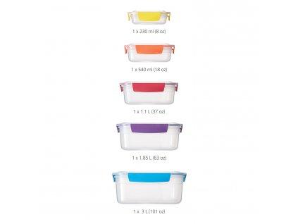 Kompaktná súprava úložných nádob Nest™ Lock 5 Joseph Joseph