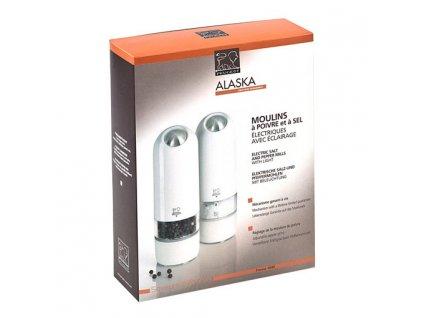 Darčeková súprava elektrických mlynčekov na korenie a soľ biely ALASKA Peugeot