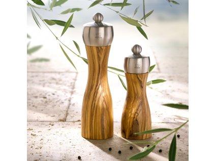 Mlynček na soľ FIDJI olivové drevo/nehrdzavejúca oceľ 15 cm Peugeot