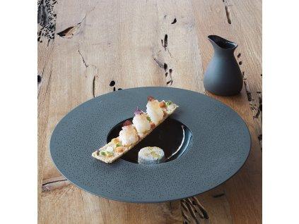 Tanier Sphère čierny s čiernou ozdobou Solid