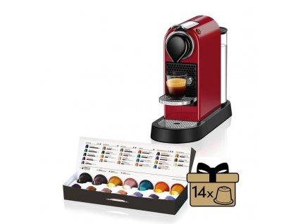 Kávovar na kapsule KRUPS Nespresso Citiz červený  + 14 nespresso kapsulí ZDARMA