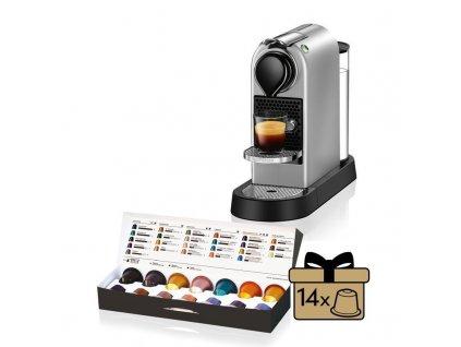 Kávovar na kapsule KRUPS Nespresso Citiz strieborný  + 14 nespresso kapsulí ZDARMA