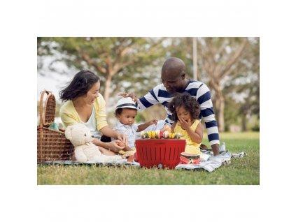 Bezdymový gril LotusGrill červený  + gelový podpalovač + taška + sada batérií
