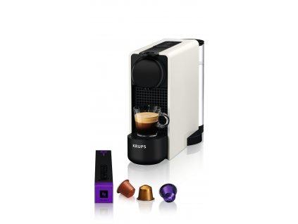 Kávovar na kapsle KRUPS Essenza Plus White & Aeroccino  + 14 nespresso kapsulí ZDARMA