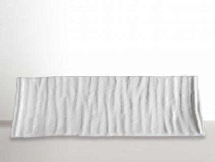 Hranatý tanier na sushi Crumpled biely 33 x 11 cm