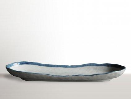 Oválny tanier na sushi s modrým okrajom 33 x 10 cm