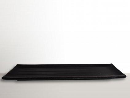Obdĺžnikový tanier na sushi čierny 39,5 x 12 cm