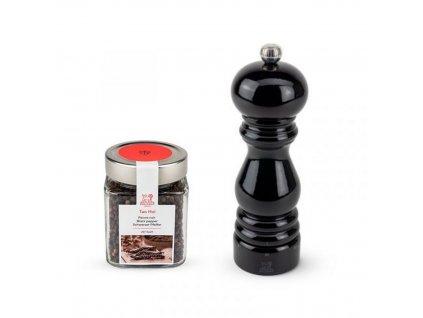 Darčekový set Paris U-Select mlynček na korenie 18 cm čierny lak + Tan Hoi korenie 70 g Peugeot