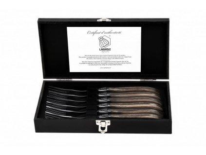 Sada steakových vidličiek Laguiole Luxury 6 ks olive