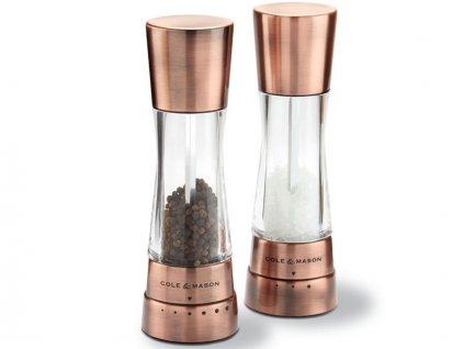 Set mlynčekov na korenie/soľ Cole & Mason Derwent 190 mm meď