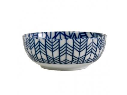 Miska Blue & White Feather Design 13 cm 370 ml MIJ