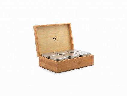 Krabička na sypaný čaj + 6 dóz Bredemeijer bambusová