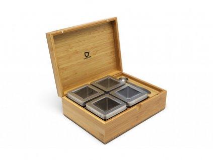 Krabička na sypaný čaj + 4 dózy + odmerka Bredemeijer bambusová