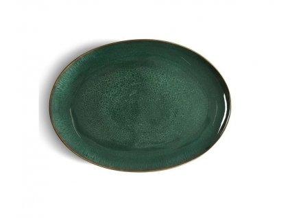 Servírovacia misa oválna Bitz čierna/zelená 45x34 cm