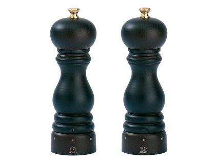 Darčeková súprava mlynčekov na korenie a soľ PARIS uSelect čokoládová, bukové drevo 18 cm Peugeot