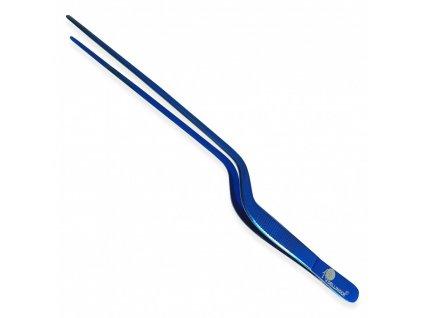 Zahnutá kucharska pinzeta Dellinger modrá 30 cm