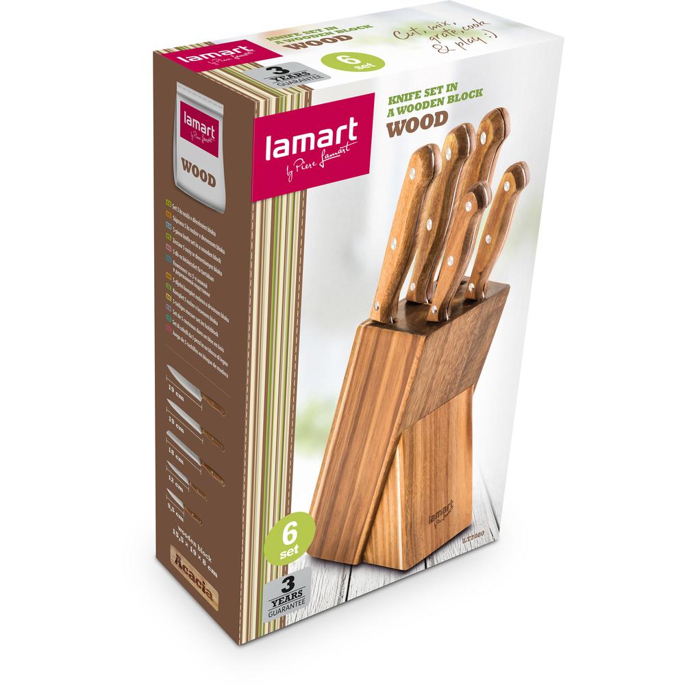 Lamart Lamart set nožů v bloku WOOD 5 ks