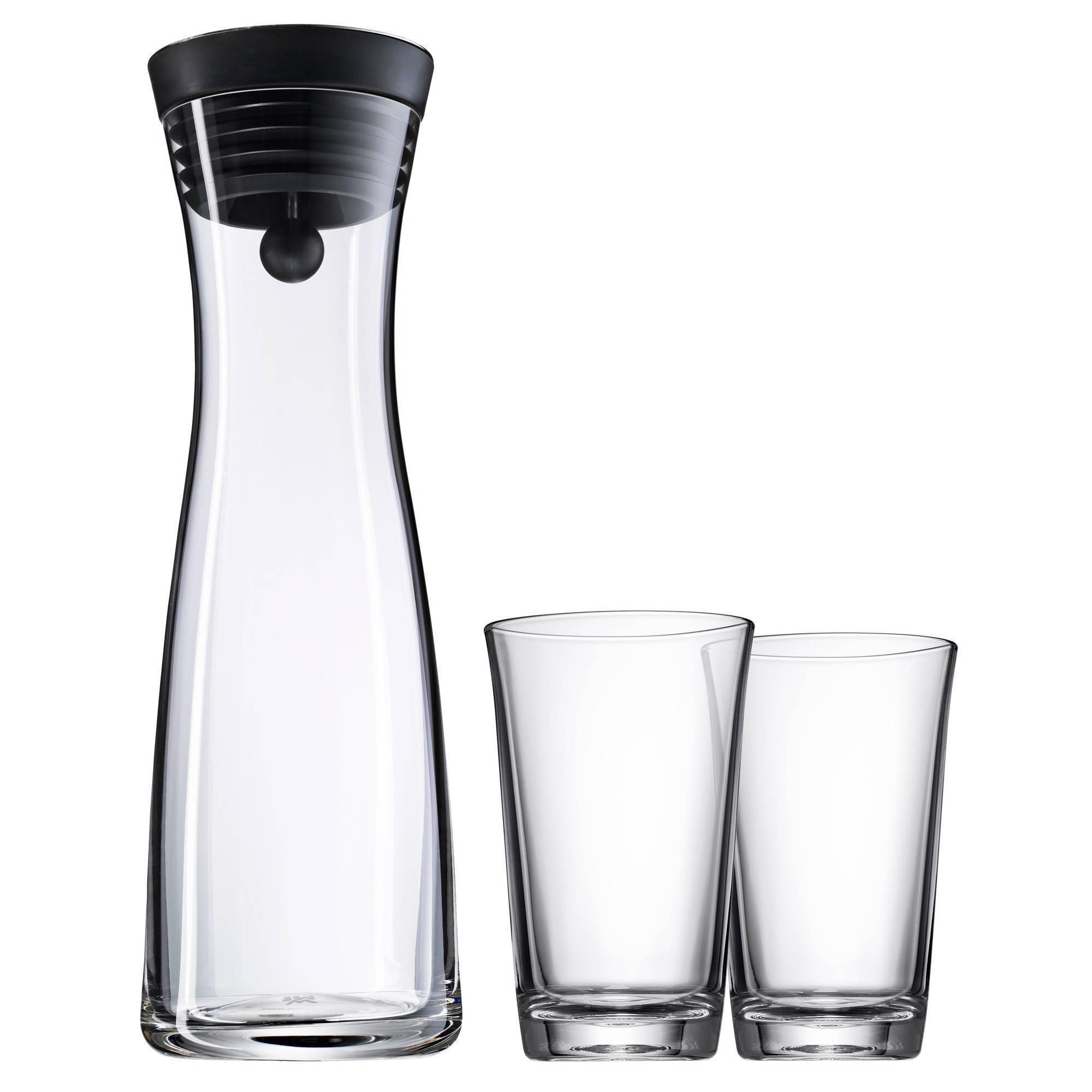 Súprava karafa na vodu čierna Basic 1,0 l + 2 poháre