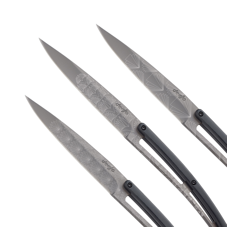 Sada steakových nožov 6dielna PaperStone®, titanium Art Deco deejo