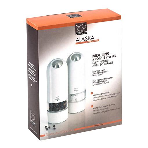Darčeková súprava elektrických mlynčekov na korenie a soľ biely ALASKA