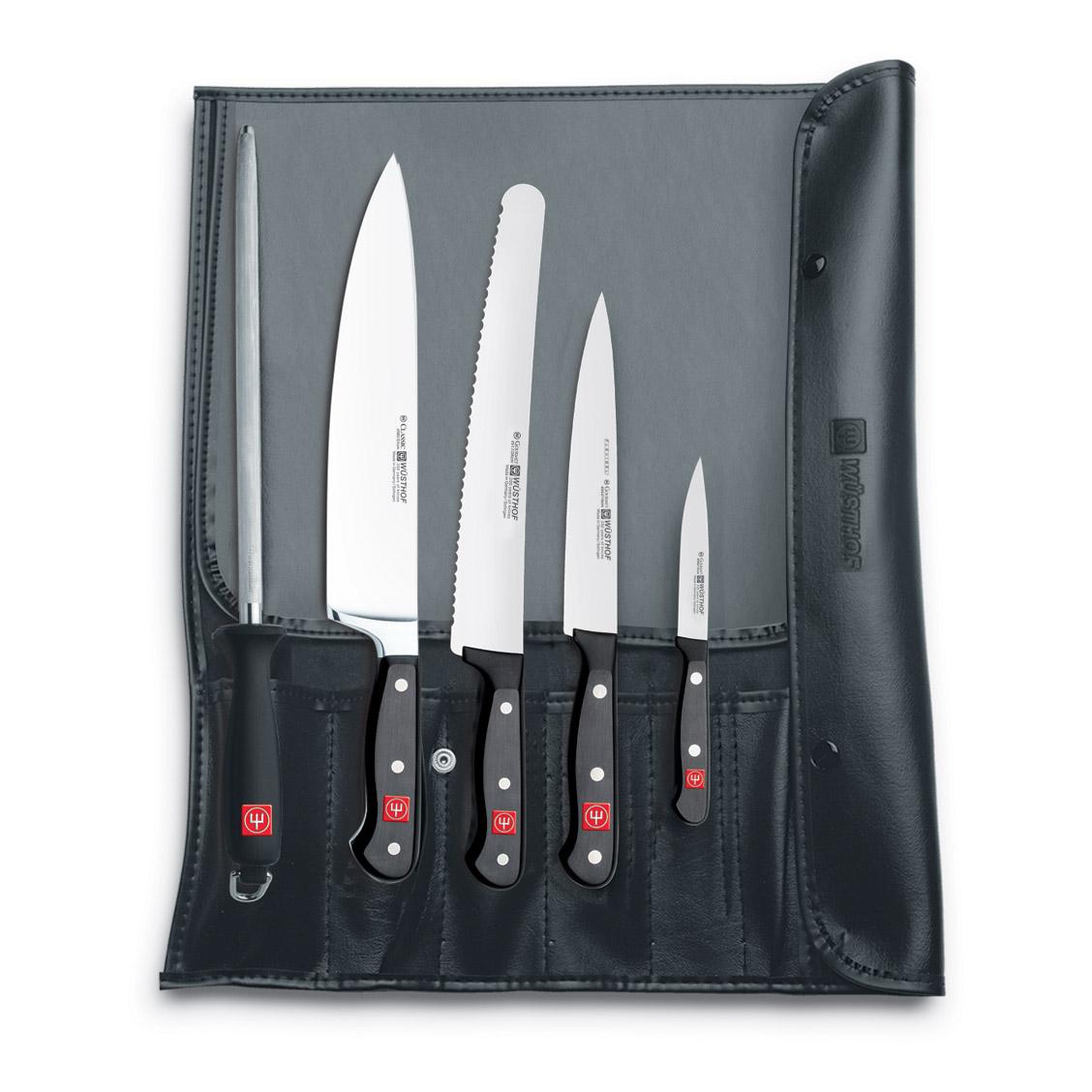 Súprava nožov s ocieľkou v puzdre 6-dielna WÜSTHOF