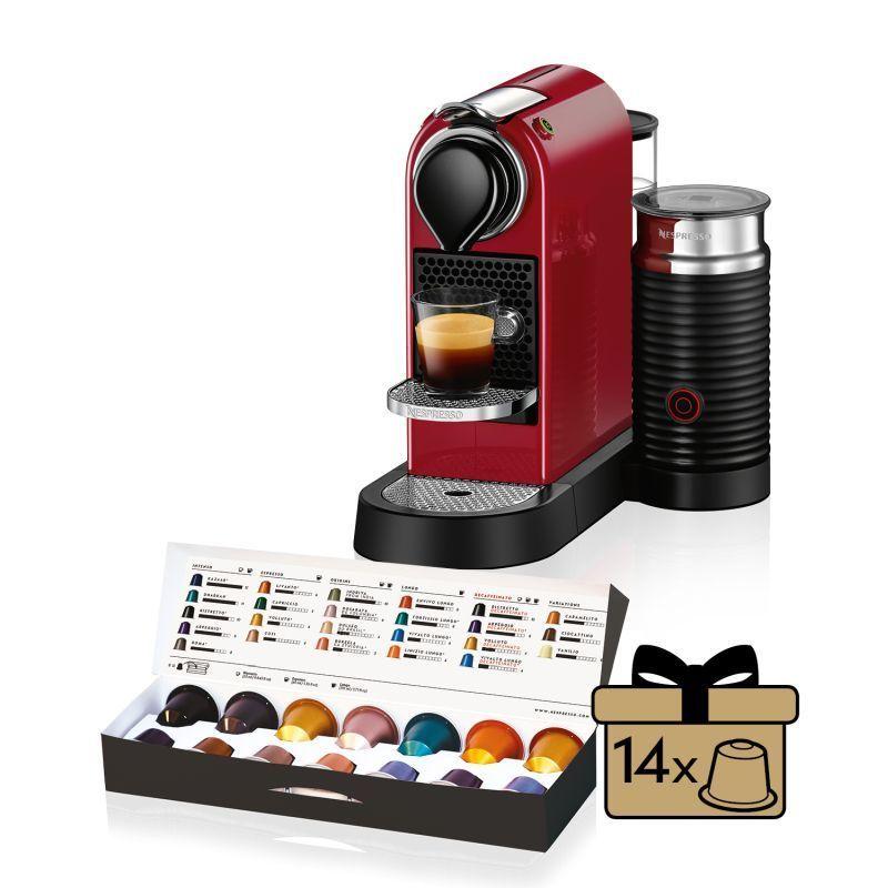 Kávovar na kapsule KRUPS Nespresso Citiz & Milk červený + 14 nespresso kapsulí ZDARMA