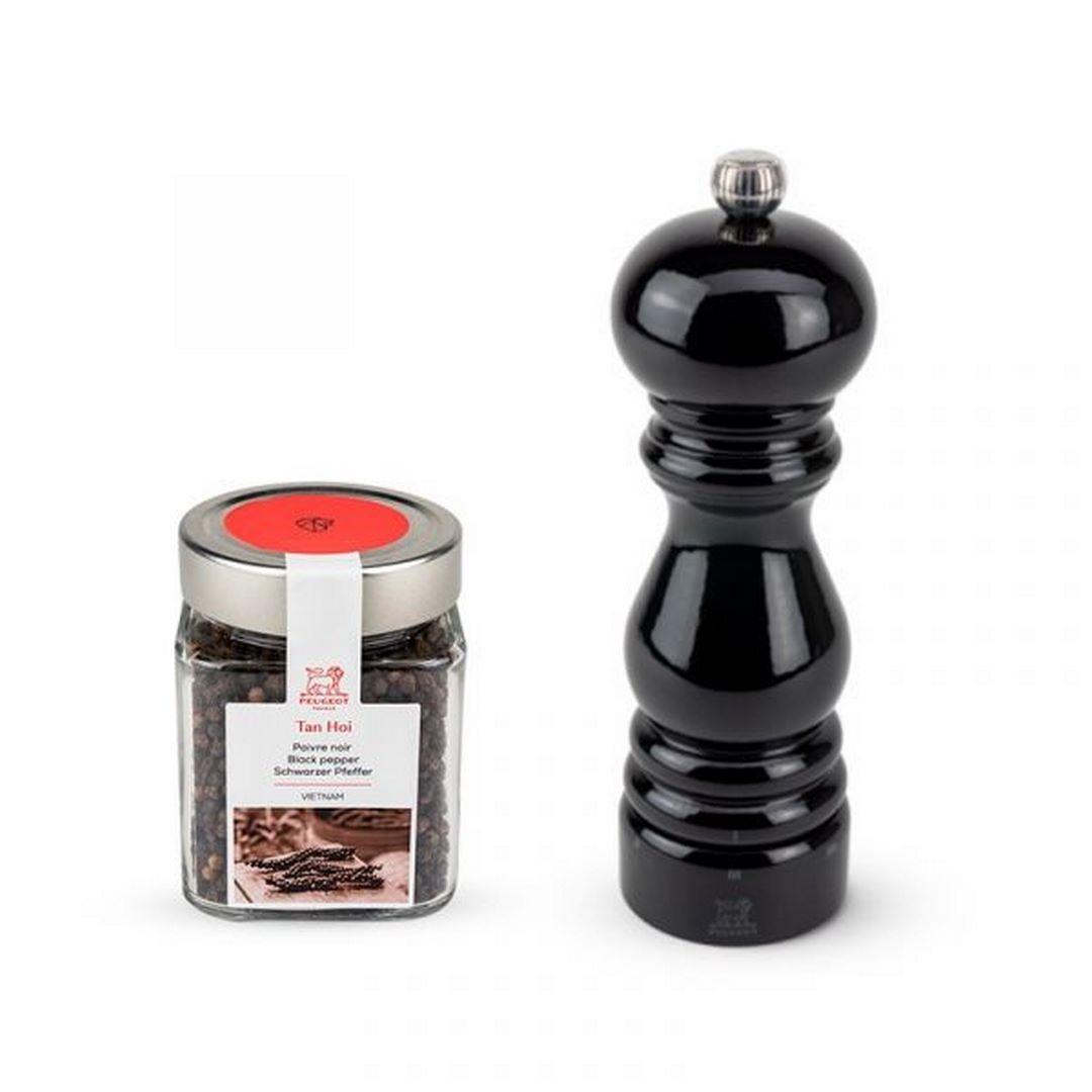 Darčekový set Paris U-Select mlynček na korenie 18 cm čierny lak + Tan Hoi korenie 70 g