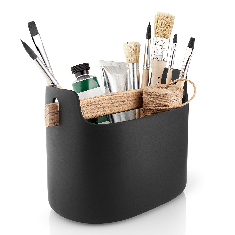 Multifunkčný box široký s drevenou rukoväťou čierny