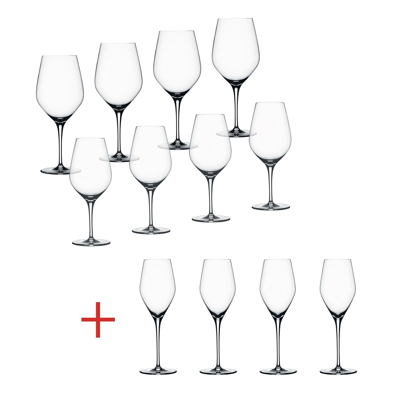 Výhodné balenie pohárov 8+4 ks na červené víno Bordeaux/biele víno/šampanské Authentis Spiegelau