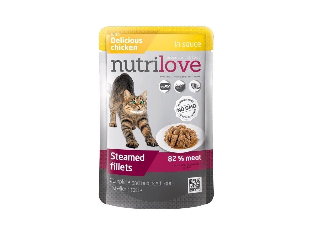 NUTRILOVE Kočka kapsička kuřecí 85 g