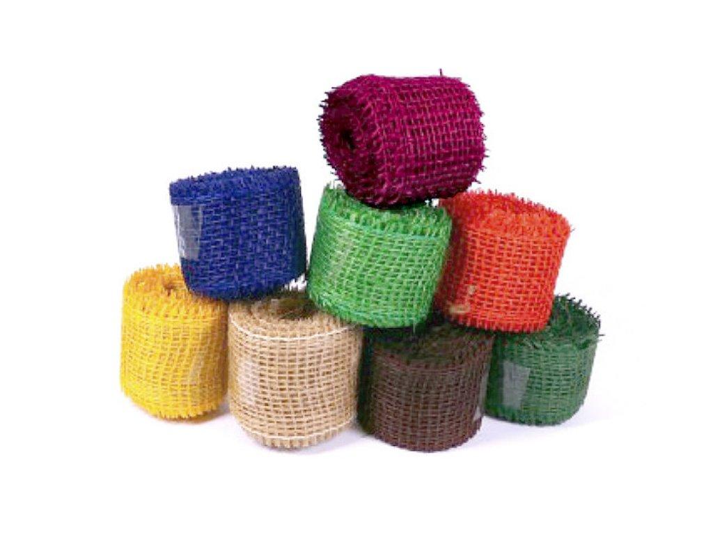 Jutové dekorační pásky 185g/m2, 4cm x 3m, různé barvy