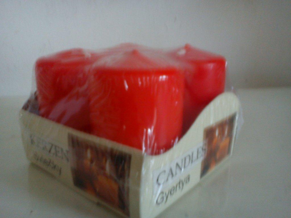 Adventní svíčky 4 ks obyč červené 40x60 mm