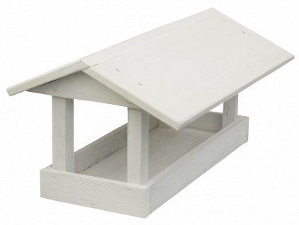 Krmítko pro ptáky dřevěné č. 16 (24x40x20cm) -velké, bílé