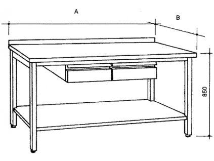 Nerezový stůl s policí a 2 zásuvkami, šířka 600 mm