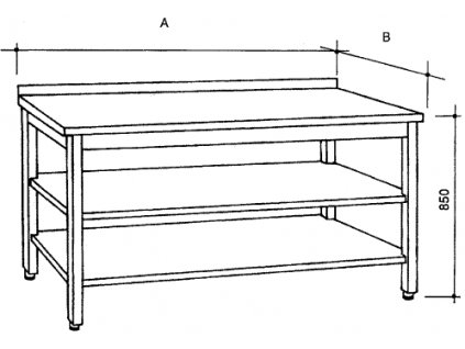 Nerezový stůl se 2 policemi, šířka 600 mm