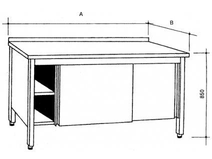 Nerezový uzavřený stůl s posuvnými dvířky, šířka 600 mm