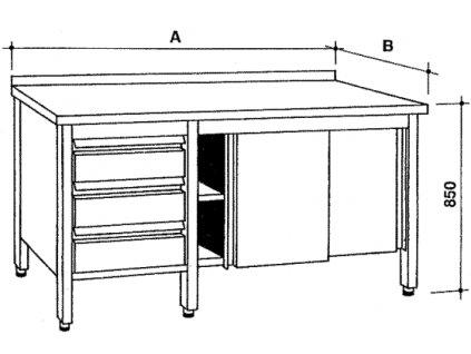 Nerezový skříňový stůl se zásuvkami a posuvnými dvířky, šířka 600 mm