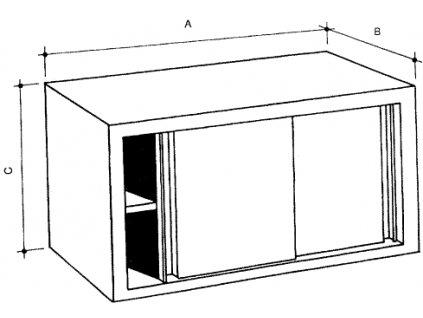 Nerezová skříňka nástěnná s policí, posuvné dveře