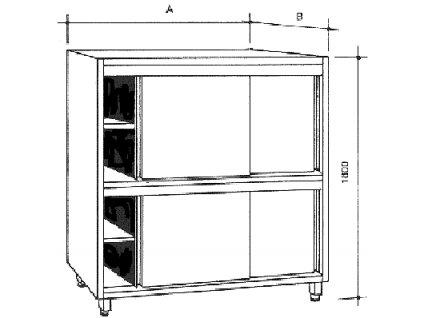 Nerezová skříň s 2 policemi, posuvné dveře, dělená, šířka 500 mm